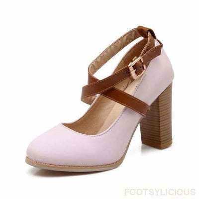 Karla Chunky Heel Pumps - Pink / UK3 - Shoes Footsylicious