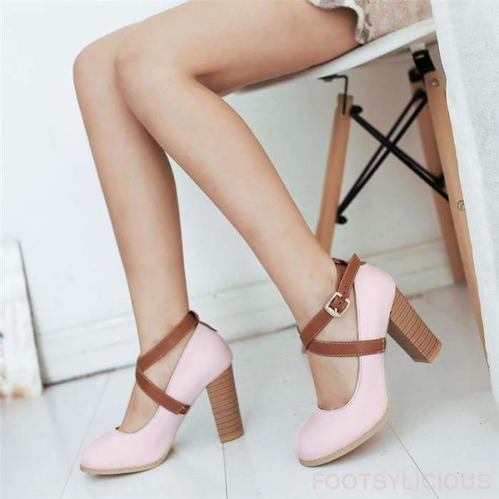 Karla Chunky Heel Pumps - Shoes Footsylicious