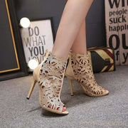 Katie Peep Toe Cut-out Boots - Gold / UK3.5 - Ankle Boots Footsylicious