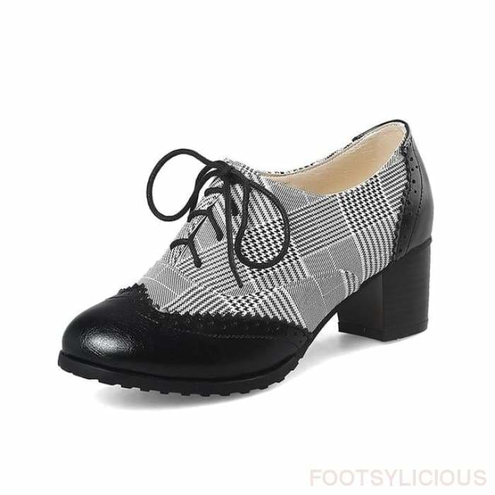 Kay Retro Style Brogues - Black / UK3 - Shoes Footsylicious