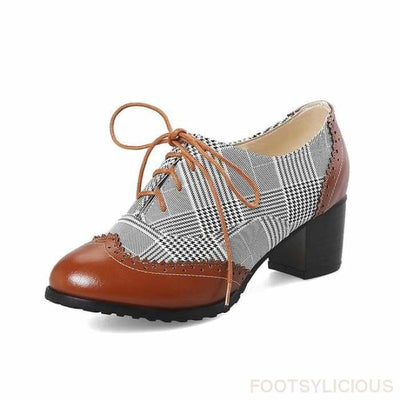 Kay Retro Style Brogues - Brown / UK3 - Shoes Footsylicious
