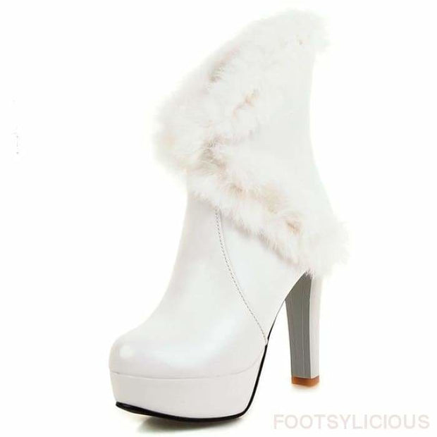 Kayla Faux Fur Boots - White / UK7 - Ankle Boots Footsylicious