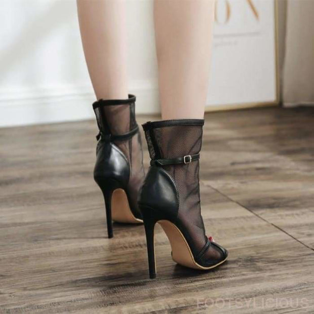 Kelly Open Toe Mesh Ankle Boots - Footsylicious