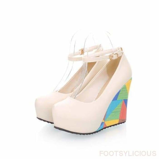 Kewa Geometric Wedges - Beige / UK3.5 - Wedges Footsylicious