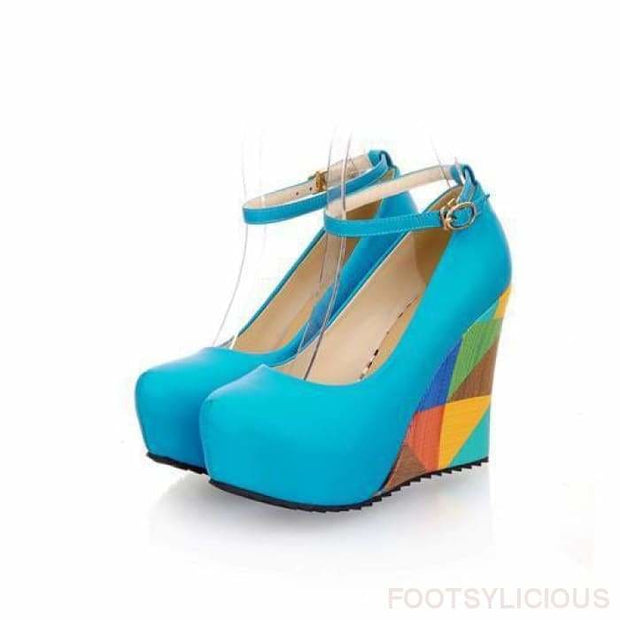 Kewa Geometric Wedges - Blue / UK3.5 - Wedges Footsylicious