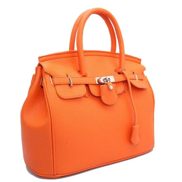 Key Padlock Handbag with Scarf on Handle - Orange / Without Silk Scarf - Handbag Footsylicious