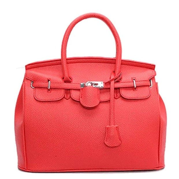Key Padlock Handbag with Scarf on Handle - Red / Without Silk Scarf - Handbag Footsylicious
