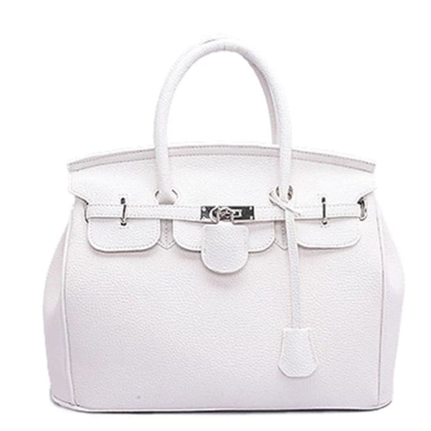 Key Padlock Handbag with Scarf on Handle - White / Without Silk Scarf - Handbag Footsylicious