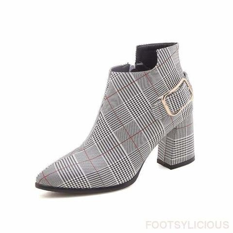 Kim Plaid Ankle Boots - Red / UK3 - Footsylicious