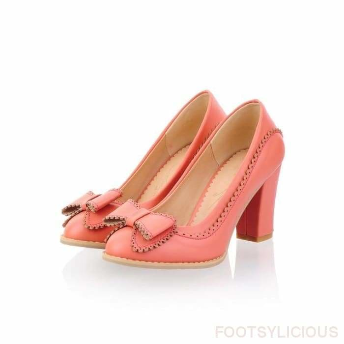fb8ff31a8622 ... Kore Bow tie Chunky Mid Heel Shoes - Pink   UK4 - Footsylicious
