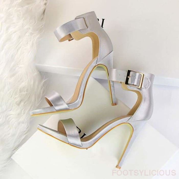 Krissy Satin High Heel Sandals - Silver / UK3 - Footsylicious