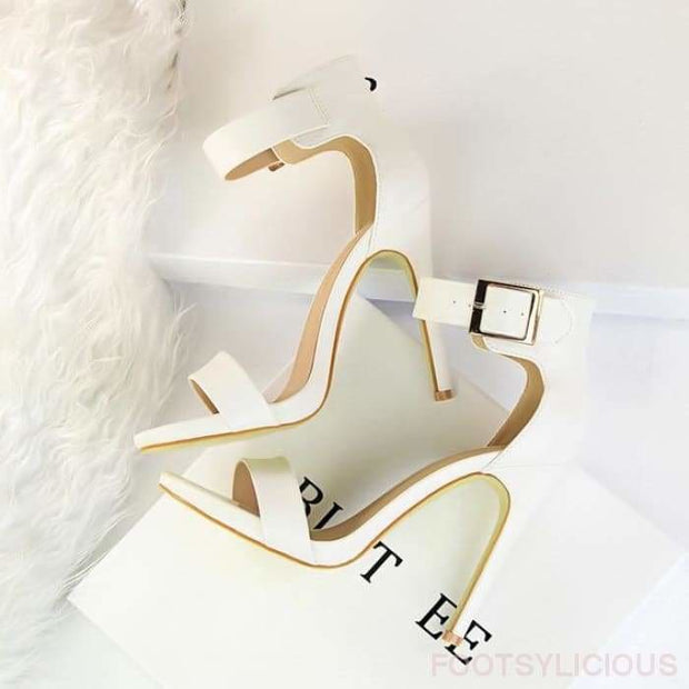 Krissy Satin High Heel Sandals - White / UK3 - Footsylicious