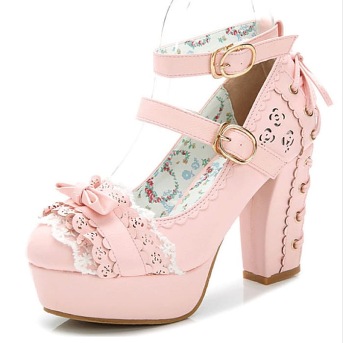 Lace Bow Shoes - Pink / UK2.5 - Footsylicious