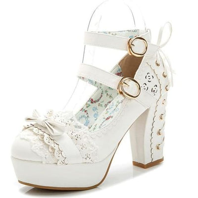 Lace Bow Shoes - White / UK2.5 - Footsylicious
