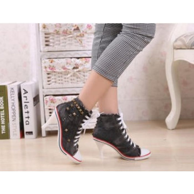 Lace Up Canvas Heels - Black / UK5.5 - Shoes Footsylicious