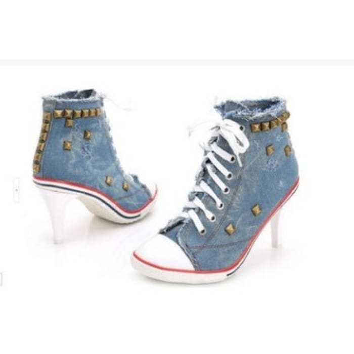 Lace Up Canvas Heels - Blue / UK5 - Shoes Footsylicious