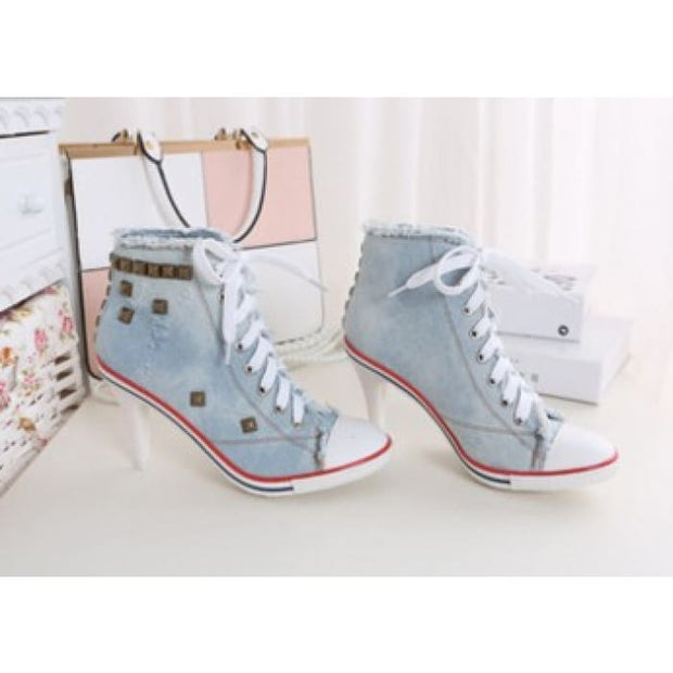 Lace Up Canvas Heels - Light blue / UK4.5 - Shoes Footsylicious