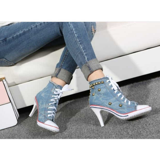 Lace Up Canvas Heels - Shoes Footsylicious