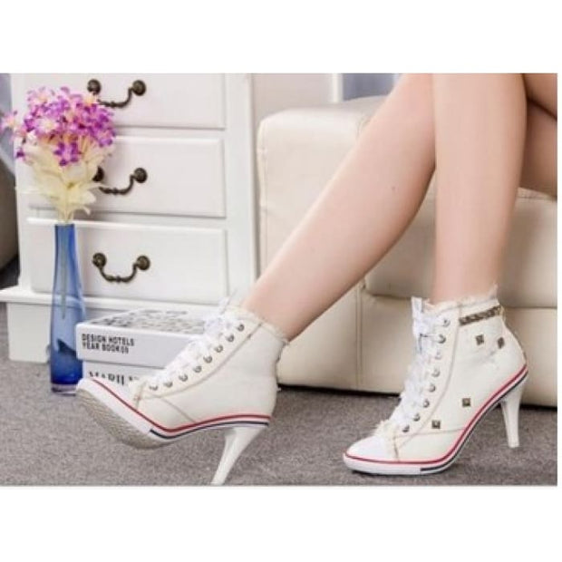 Lace Up Canvas Heels - White / UK6 - Shoes Footsylicious