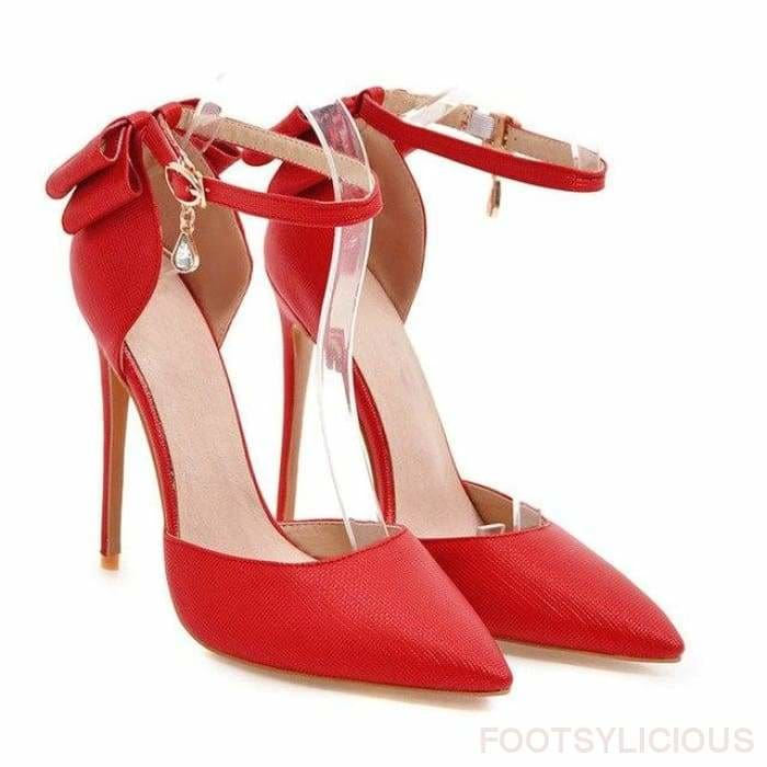 Lady Stiletto Pumps - Red / UK6.5 - Shoes Footsylicious