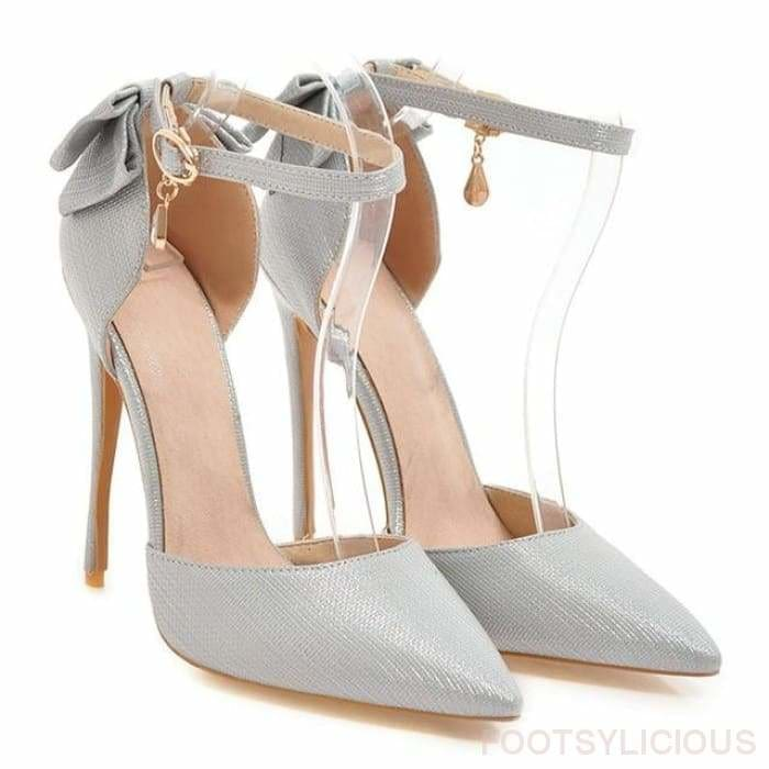 Lady Stiletto Pumps - Silver / UK3 - Shoes Footsylicious