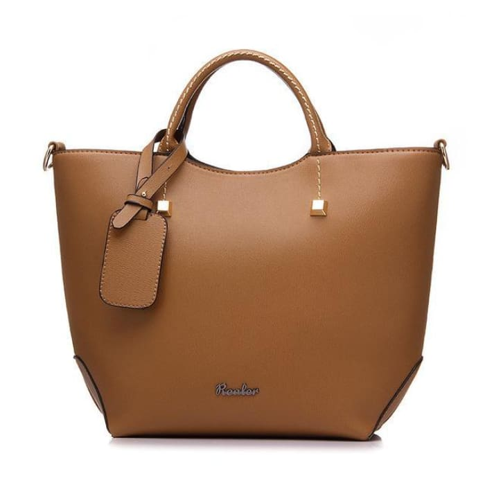 Large Bucket Tote Bag - Brown - Handbag Footsylicious