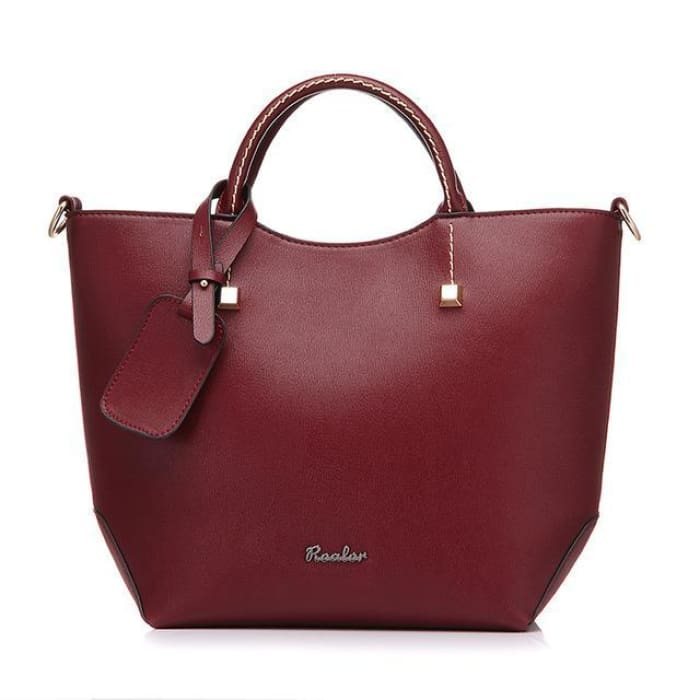 Large Bucket Tote Bag - Wine red - Handbag Footsylicious