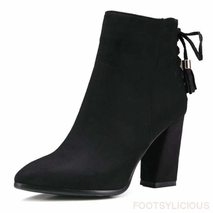Laurel Square Heel Ankle Boots - Black / UK7 - Footsylicious