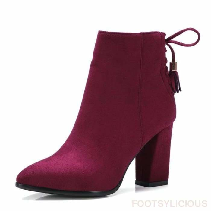 Laurel Square Heel Ankle Boots - Red / UK7 - Footsylicious