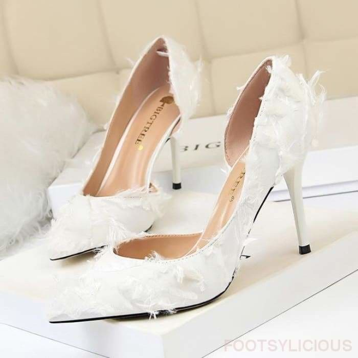 Lily High Heel Pumps - White / UK3 - Shoes Footsylicious