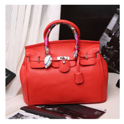 Lock Buckle Handbag with Scarf - Red / With Silk Scarf - Handbag Footsylicious