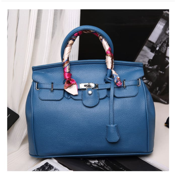 Lock Buckle Handbag with Scarf - Royal blue with silk scarf / With Silk Scarf - Handbag Footsylicious