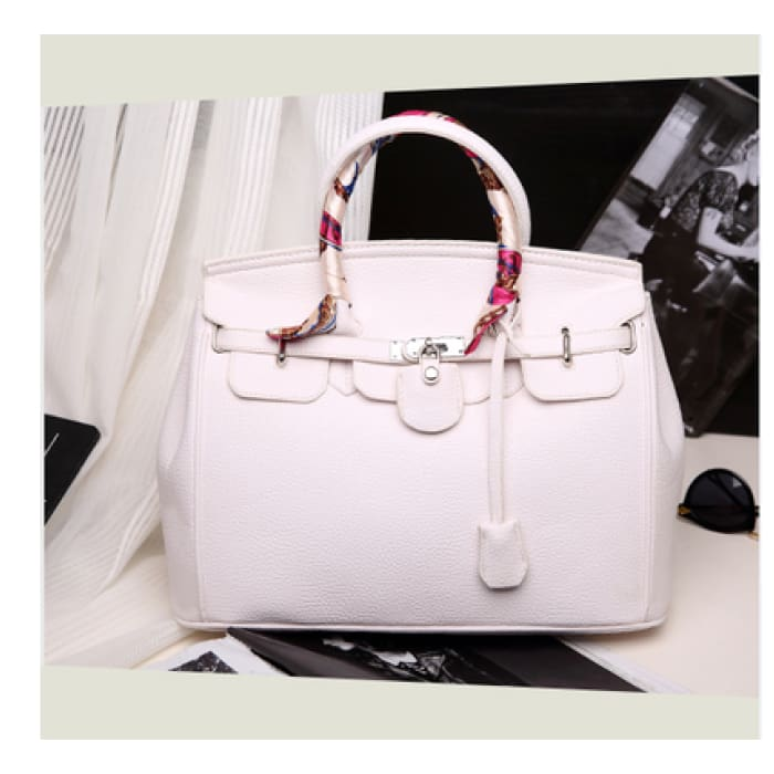 Lock Buckle Handbag with Scarf - White with silk scarf / With Silk Scarf - Handbag Footsylicious