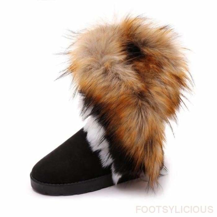 Maggie Faux Fur Ankle Boots - Black / UK4 - Footsylicious