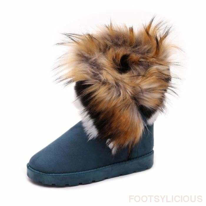 Maggie Faux Fur Ankle Boots - Green / UK4 - Footsylicious