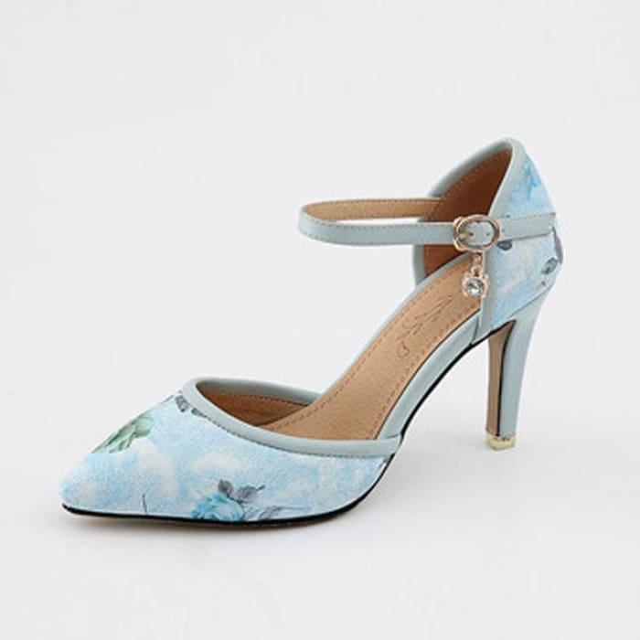 Mary Jane High Heel Pumps - Blue / UK8 - Shoes Footsylicious