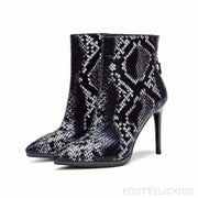 May Snake Pattern Heel Ankle boots - Blue / UK4.5 - Ankle Boots Footsylicious