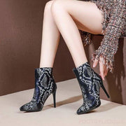 May Snake Pattern Heel Ankle boots - Footsylicious