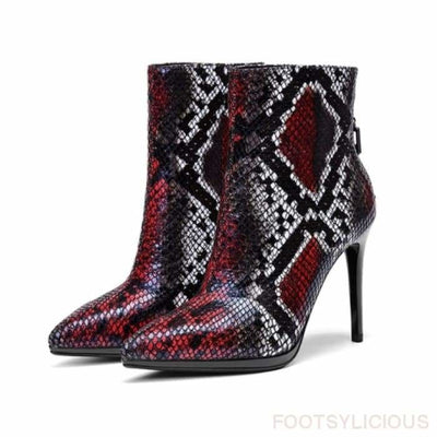 May Snake Pattern Heel Ankle boots - Red / UK3 - Footsylicious