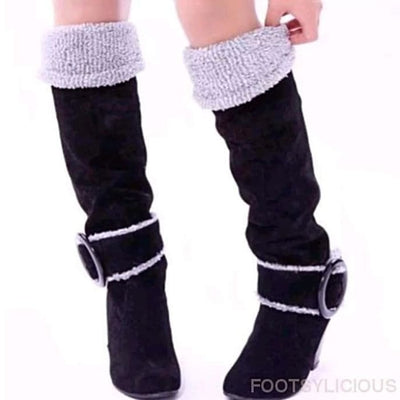 Maya Knee High Winter Plush Boots - Black / UK3.5 - Footsylicious
