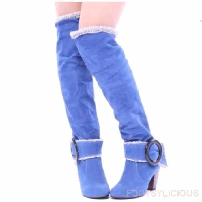 Maya Knee High Winter Plush Boots - Blue / UK3 - Footsylicious