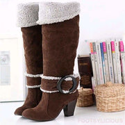 Maya Knee High Winter Plush Boots - Brown / UK3.5 - Footsylicious