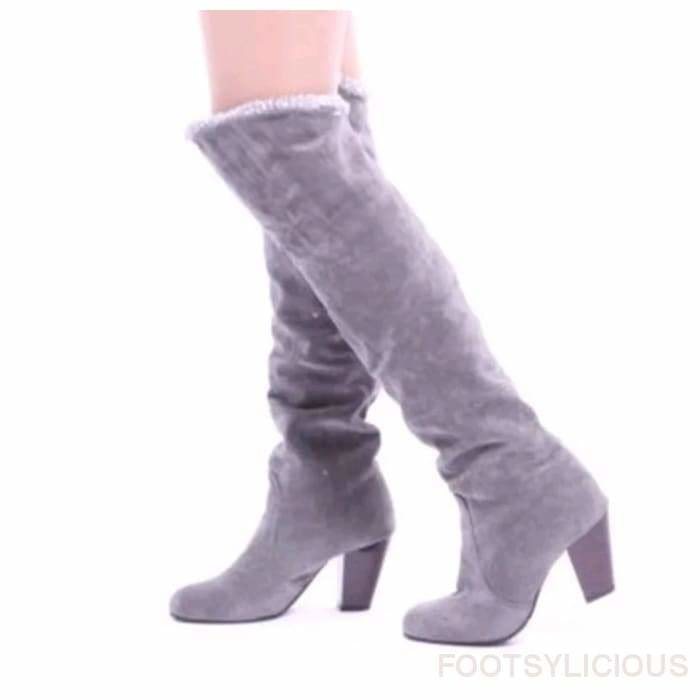 Maya Knee High Winter Plush Boots - Gray / UK3.5 - Footsylicious