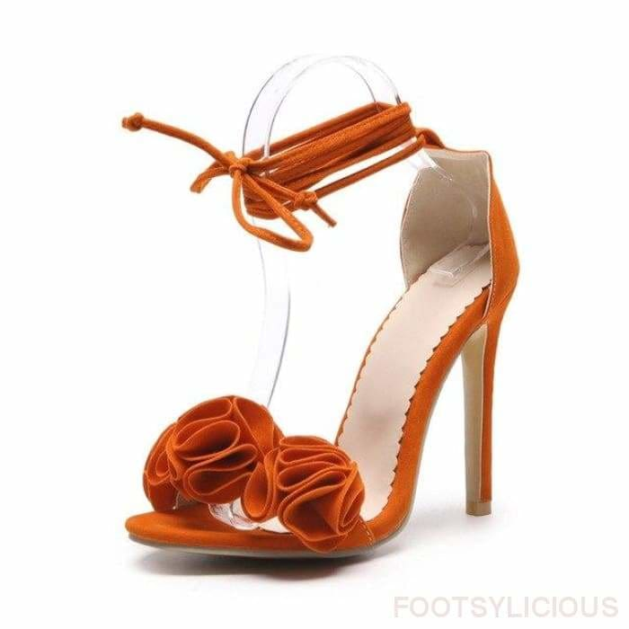 Ngo Ruffles High Heel Sandals - Orange / UK11 - Footsylicious