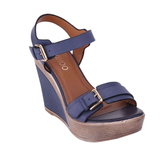 Open Toe Wedge Sandals - Blue / UK4 - Wedges Footsylicious