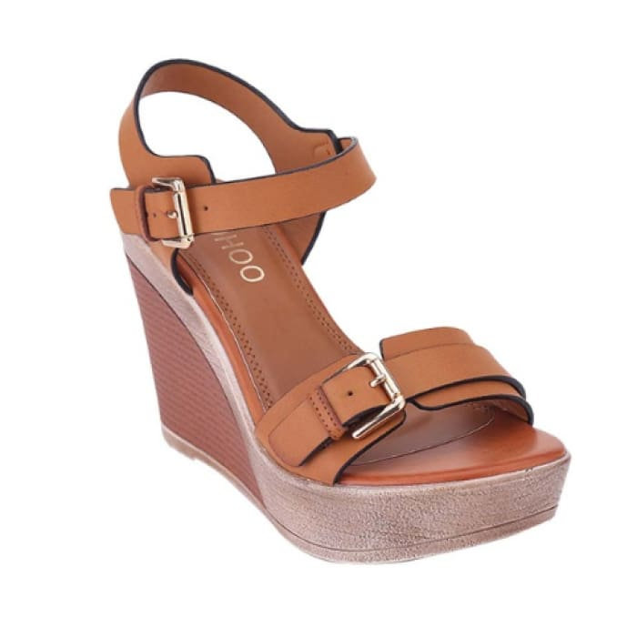 Open Toe Wedge Sandals - Brown / UK4.5 - Wedges Footsylicious