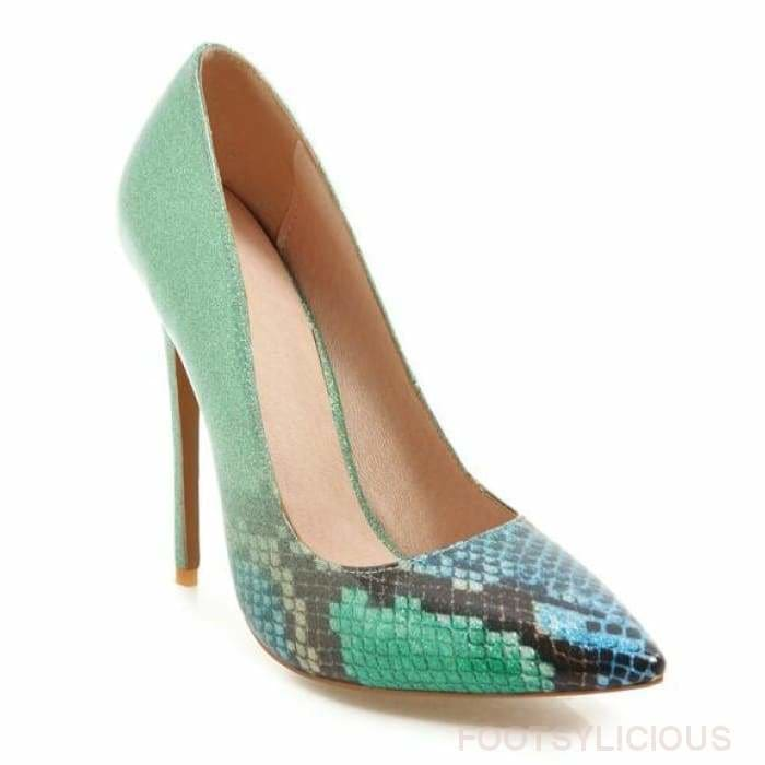 Pauline Faux Snakeskin High Heel Pumps - Green / UK10 - Delivered within 2 - 3 weeks - Shoes Footsylicious