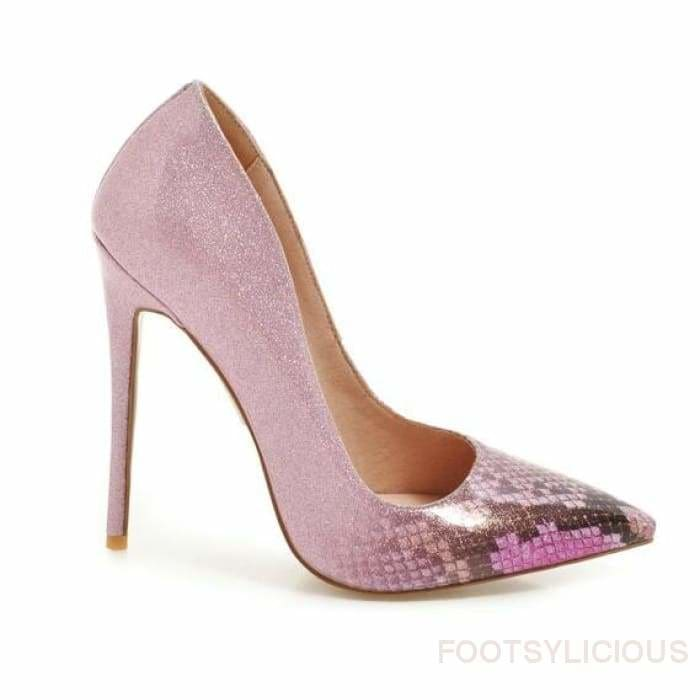 Pauline Faux Snakeskin High Heel Pumps - Purple / UK10 - Delivered within 2 - 3 weeks - Shoes Footsylicious
