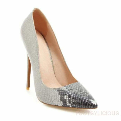 Pauline Faux Snakeskin High Heel Pumps - Silver / UK10 - Delivered within 2 - 3 weeks - Shoes Footsylicious