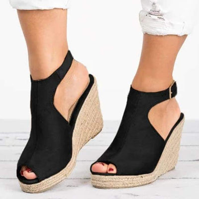 Suede Peep Toe Ankle Strap Espadrille Wedges - Black / UK7 - Wedges Footsylicious